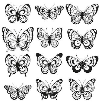 Silhouet elegante vlinder geïsoleerd op een witte achtergrond