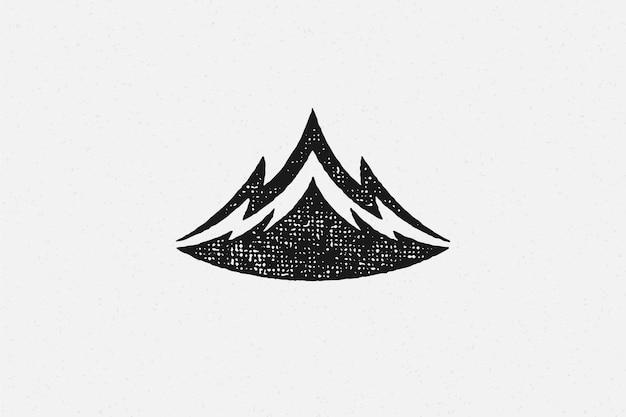 Silhouet gebergte en ravijn als symbool van natuur exploratie hand getekend stempel effect