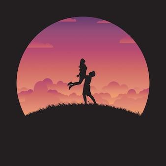 Silhouet gelukkig paar in liefde met zonsondergang