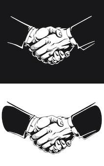 Silhouet handdruk zakelijke overeenkomst contract deal