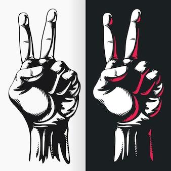 Silhouet handgetekende vredesteken stencil