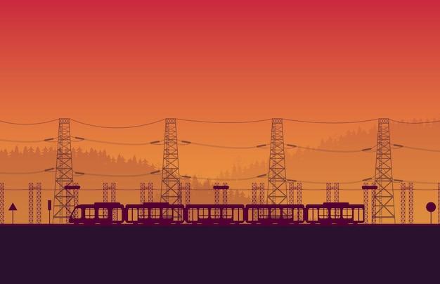 Silhouet hogesnelheidstrein spoorweg met brug op oranje achtergrond met kleurovergang