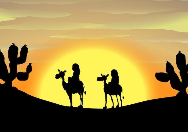 Silhouet in de woestijn