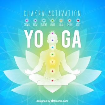 Silhouet in yoga-positie op bloemenachtergrond