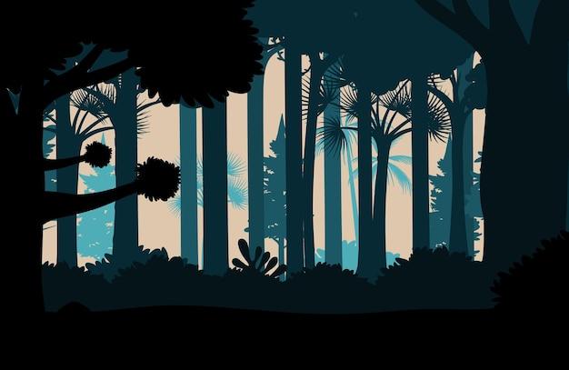 Silhouet jungle landschap achtergrond
