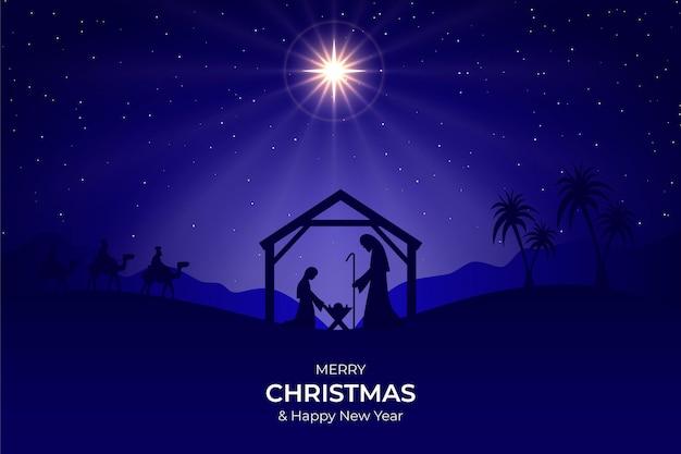 Silhouet kerststal illustratie