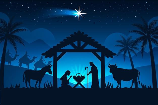 Silhouet kerststal in de nacht