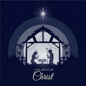 Silhouet kerststal