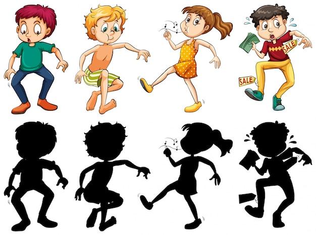 Silhouet, kleur en schetsversie van gekke kinderen