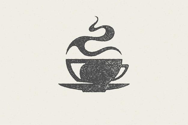 Silhouet kopje warme aromatische drank met een vleugje stoom als logo van het koffiehuis