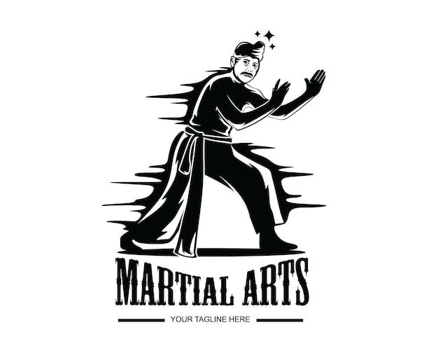 Silhouet krijgskunst logo ontwerp