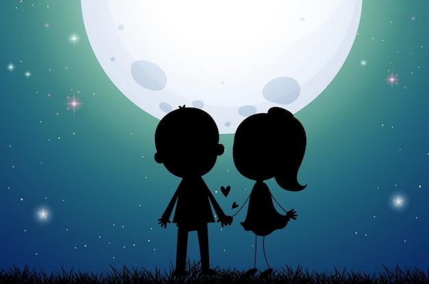 Silhouet liefde paar in het veld