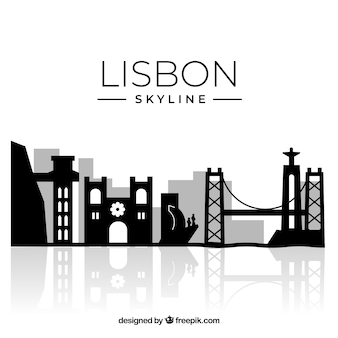 Silhouet lissabon skyline achtergrond