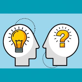Silhouet man leidt lamp idee en vraag symbool