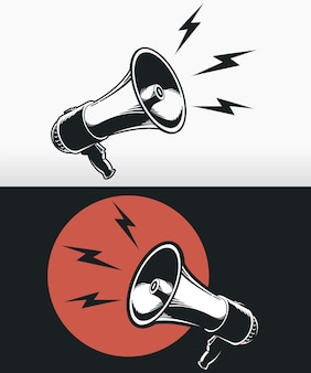 Silhouet megafoon hoorn luidspreker logo zwart