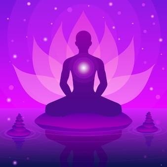 Silhouet menselijke zitten en meditatie op fantasie lotus achtergrond