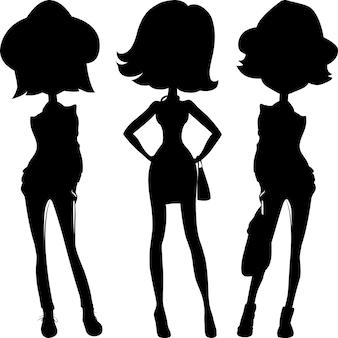 Silhouet mode meisjes topmodellen instellen