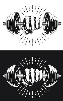 Silhouet monochroom vuist aangrijpende bodybuilding halters