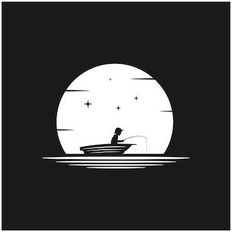 Silhouet nacht vissen eps vector