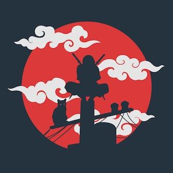 Silhouet ninja en kat illustratie