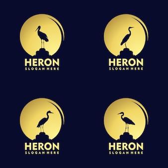 Silhouet ooievaar reiger vogel op gouden zonsondergang logo ontwerp