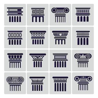 Silhouet oude rome architectuur kolompictogrammen