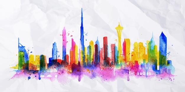 Silhouet overlay stad geschilderd