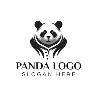 Silhouet panda cool logo, geweldig mascotte panda logo