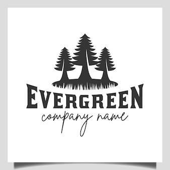Silhouet pine groenblijvende of conifer ceder naaldhout cipres lariks, pine tree forest vintage retro logo vector ontwerpsjabloon