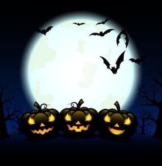 Silhouet pompoen snijwerk en vleermuis voor halloween-dag