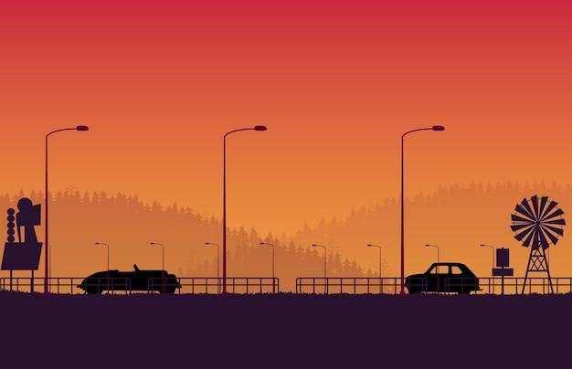Silhouet retro auto met retro teken en boslandschapsweg op oranje gradiënt