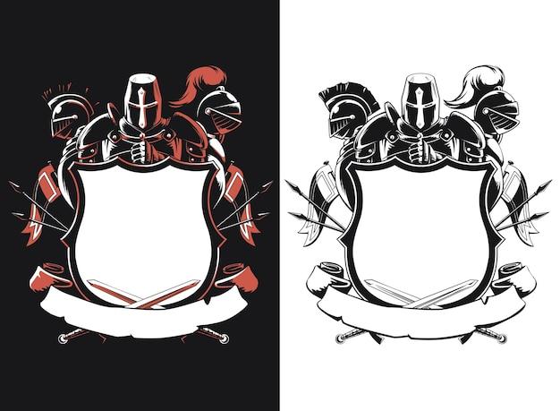 Silhouet ridder schild kuif geïsoleerd