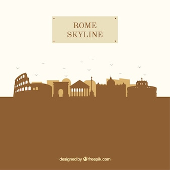 Silhouet rome skyline achtergrond in vlakke stijl