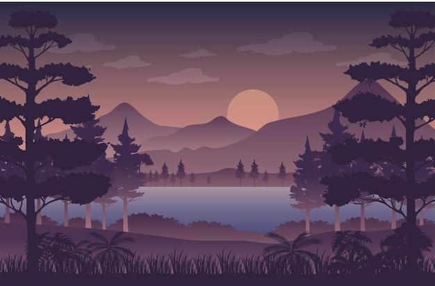 Silhouet schemering bos landschap achtergrond