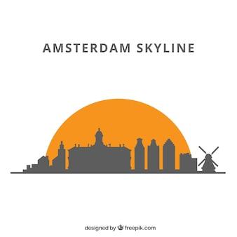 Silhouet skyline achtergrond in vlakke stijl