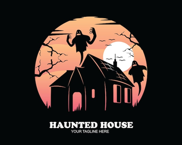 Silhouet spookhuis ontwerp logo