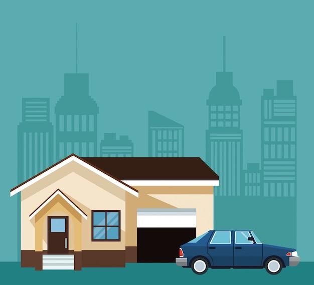 Silhouet stad landschap met huis en auto