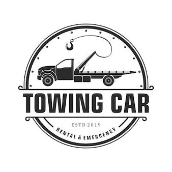 Silhouet trekkende auto logo ontwerp