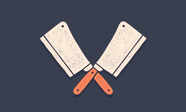Silhouet twee slagersmessen