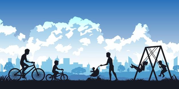 Silhouet van activiteiten van mensen in park
