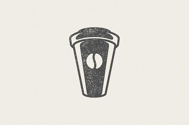 Silhouet van afhaalmaaltijden kopje drank te gaan ontwerp voor coffeeshop