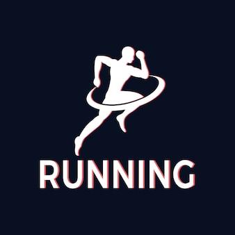 Silhouet van atleten die voor gezondheid lopen