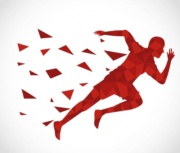 Silhouet van atletische man loopt