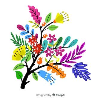 Silhouet van bloemen plat ontwerp