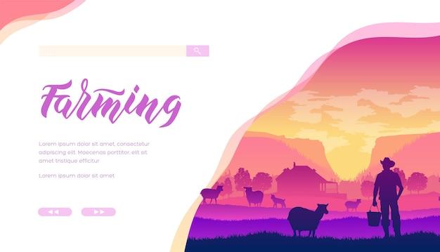 Silhouet van boer met backet staande naast schapen op pastorale achtergrond