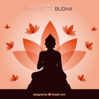 Silhouet van budha met plat ontwerp