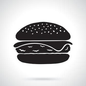 Silhouet van cheeseburger ongezond voedsel vectorillustratie