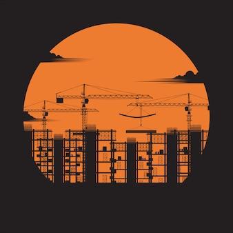 Silhouet van constructie. gebouw onder bouwplaats, bouwconcept, stadshuizen, kraan, versterkte betonblokken, industrie, zonsondergangachtergrond