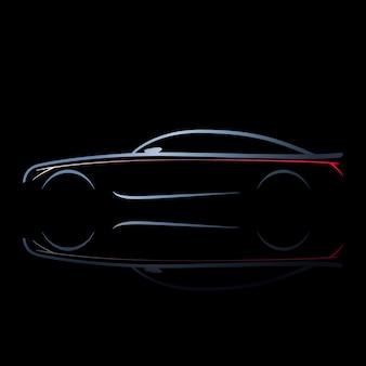 Silhouet van de auto met brandende lichten.