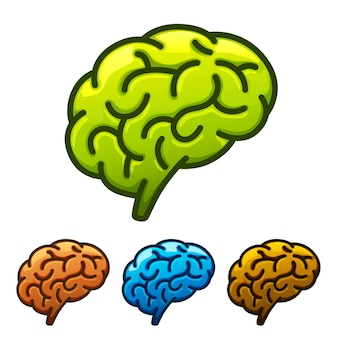 Silhouet van de hersenen groen op een witte achtergrond. vector illustratie